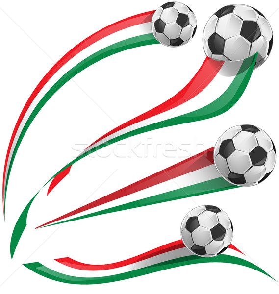 italian flag set with soccer ball Stock photo © doomko