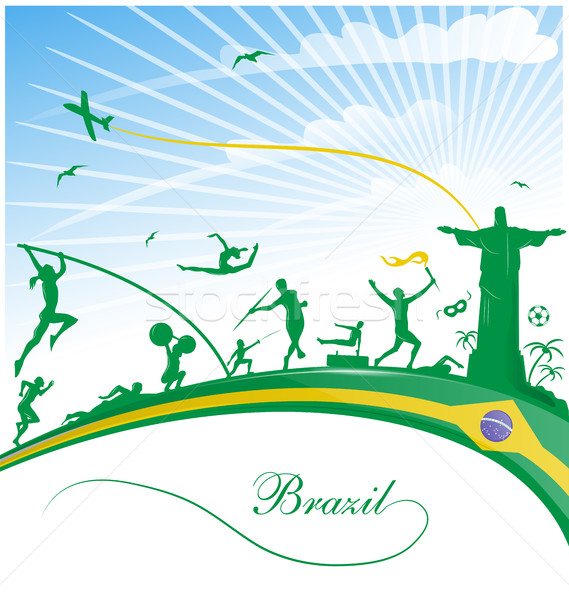brazil background with flag and sport symbol Stock photo © doomko