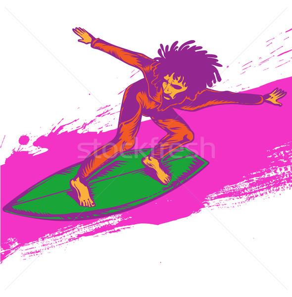 surfer pop art on wave illustration Stock photo © doomko