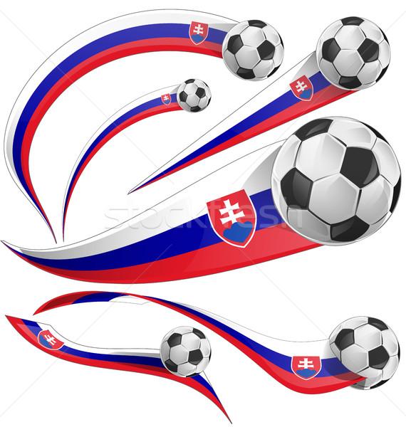 Slovakya bayrak futbol topu futbol soyut fincan Stok fotoğraf © doomko
