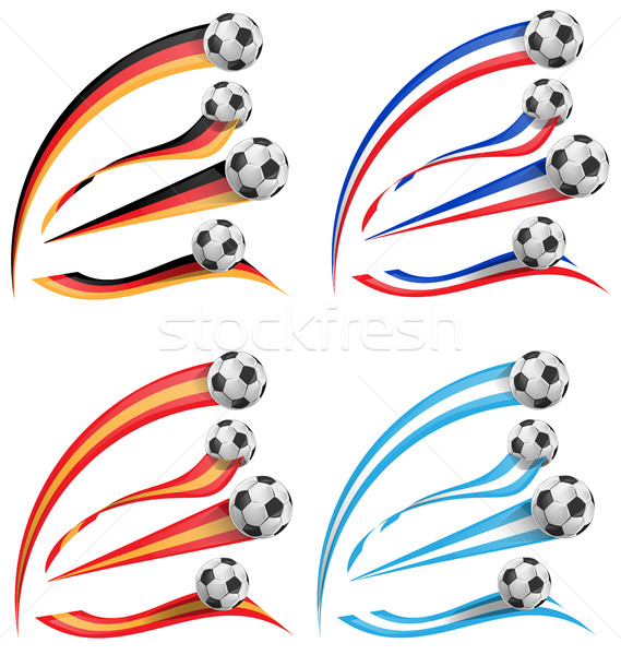 germany, greece, france, spain flag set with soccer ball Stock photo © doomko