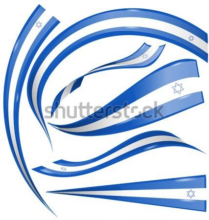 İsrail bayrak ayarlamak beyaz iş dizayn Stok fotoğraf © doomko