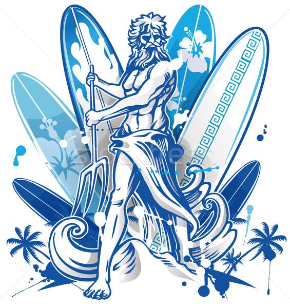 ファー サーフボード 青 ヤシの木 ビーチ 男 ストックフォト © doomko