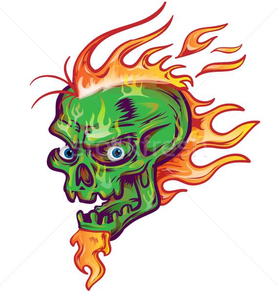 緑 頭蓋骨 スケッチ デザイン 白 難 ストックフォト © doomko