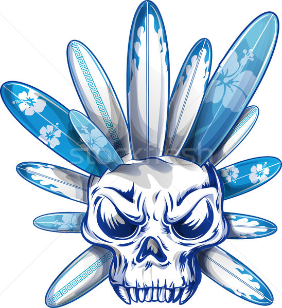 Schedel surfboard zomer palm Blauw surfen Stockfoto © doomko