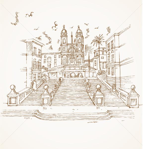 ローマ 手 描画 建物 市 アーキテクチャ ストックフォト © doomko