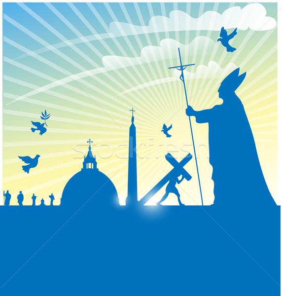 Vatikán szimbólum pápa égbolt terv kereszt Stock fotó © doomko
