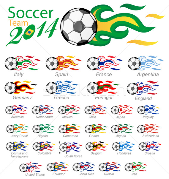 soccer ball set with flag flame Stock photo © doomko