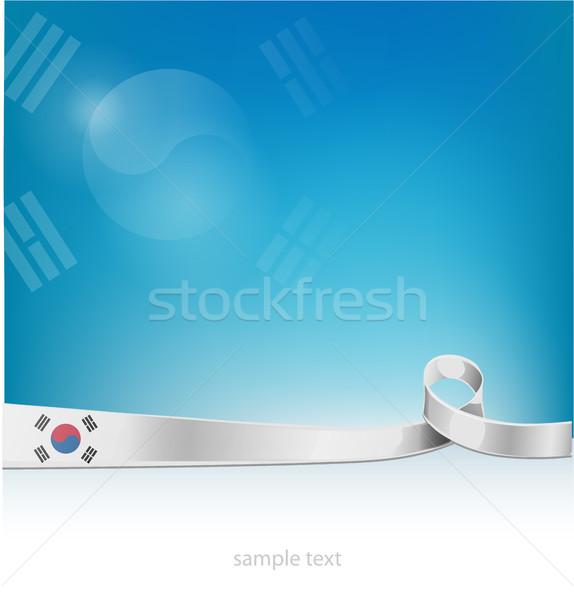 フラグ 韓国 芸術 チーム 赤 アジア ストックフォト © doomko