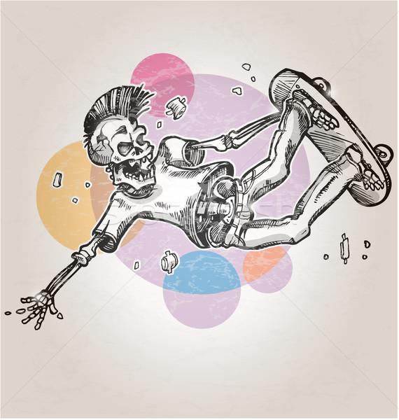 skeleton skater  on abstract retro background Stock photo © doomko
