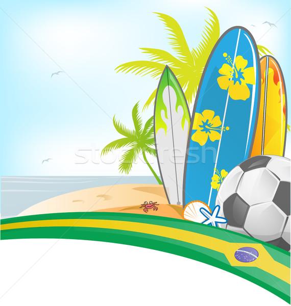 ブラジル 夏 サーフボード サッカーボール ビーチ 自然 ストックフォト © doomko
