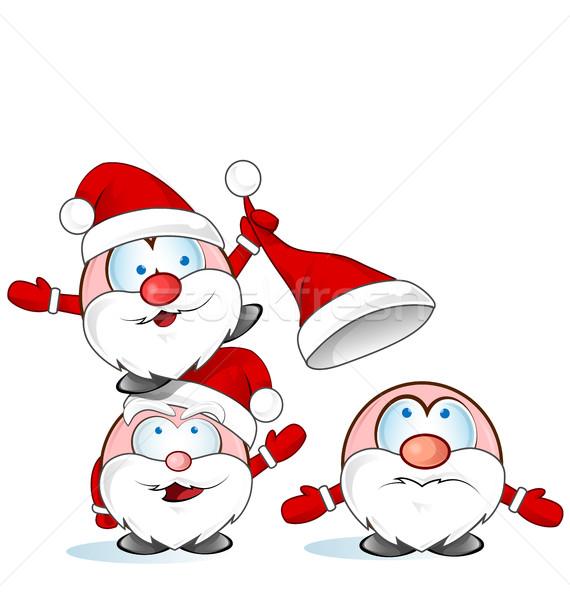 面白い サンタクロース グループ 漫画 孤立した 白 ストックフォト © doomko