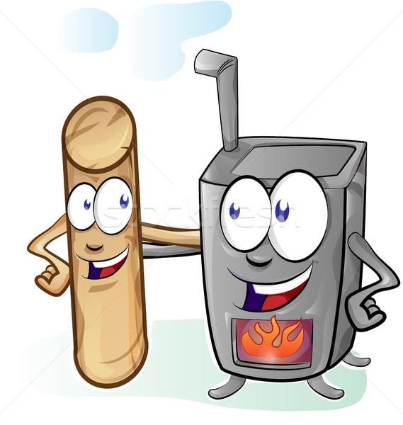 fun stove and pellet cartoon Stock photo © doomko