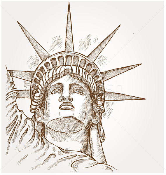 statue of liberty face hand dawn Stock photo © doomko