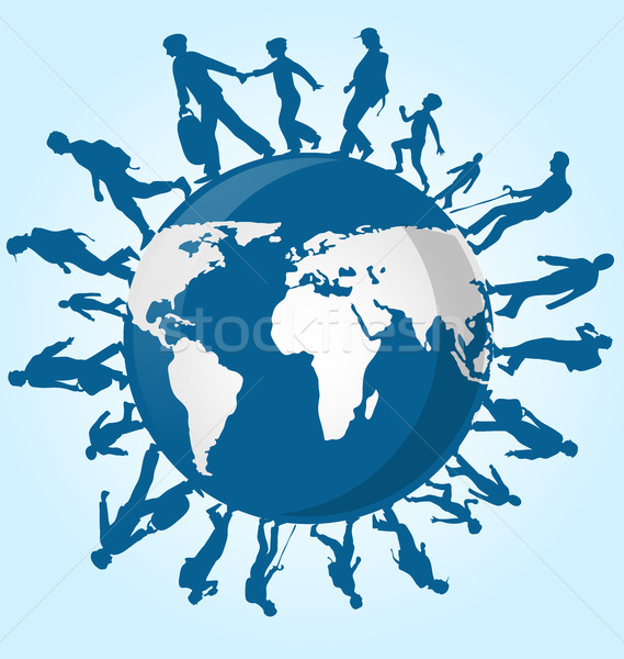 immigration people on world map background Stock photo © doomko