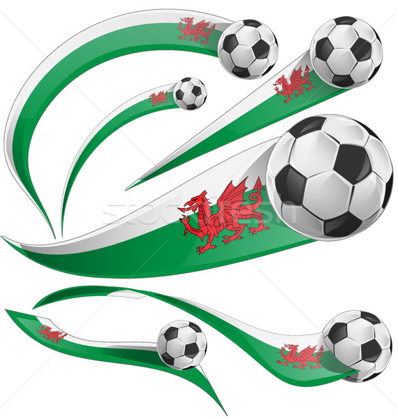 wales flag set with soccer ball Stock photo © doomko