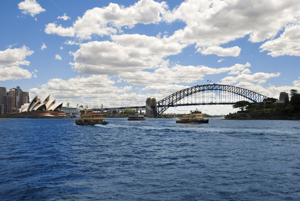 Opera house & Harbour bridge with boat Sydney Australia Stock photo © doomko
