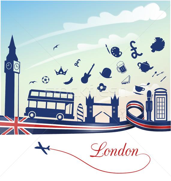 ストックフォト: ロンドン · フラグ · シンボル · セット · 建物 · デザイン
