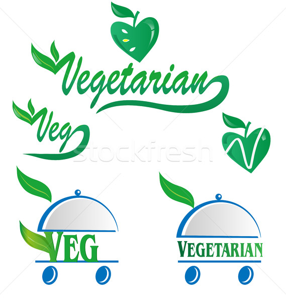 vegetarian and veg symbol menu isolated on white Stock photo © doomko
