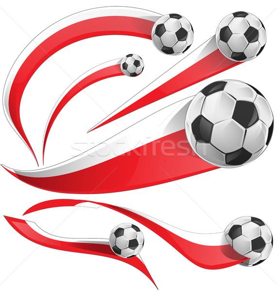 Polonia Japón Indonesia bandera establecer balón de fútbol Foto stock © doomko