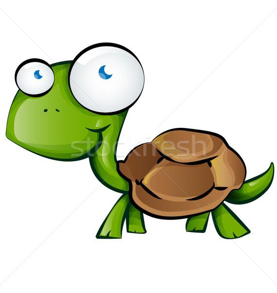 черепаха Cartoon белый счастливым фон зеленый Сток-фото © doomko