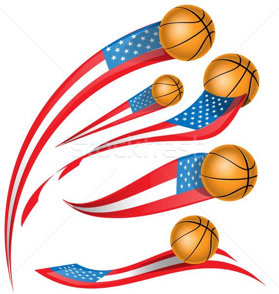Sepet top ayarlamak ABD bayrak yalıtılmış Stok fotoğraf © doomko