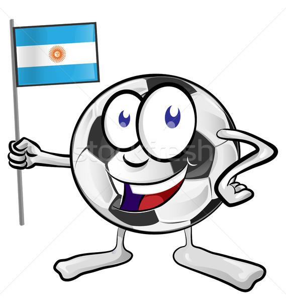 Voetbal cartoon Argentinië vlag gezicht voetbal Stockfoto © doomko