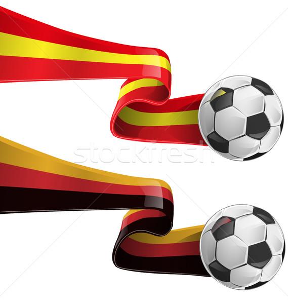 スペイン ドイツ フラグ サッカーボール 背景 ボール ストックフォト © doomko