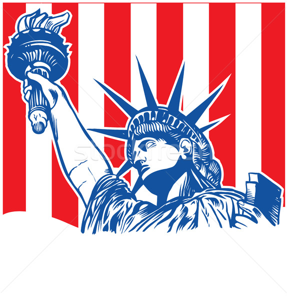Heykel özgürlük el feneri bayrak el ışık Stok fotoğraf © doomko