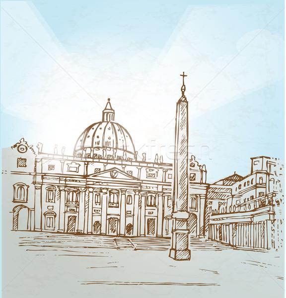 Vaticaanstad hand trekken papier gebouw achtergrond Stockfoto © doomko