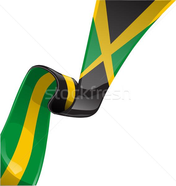 Jamaika şerit bayrak beyaz iş Stok fotoğraf © doomko