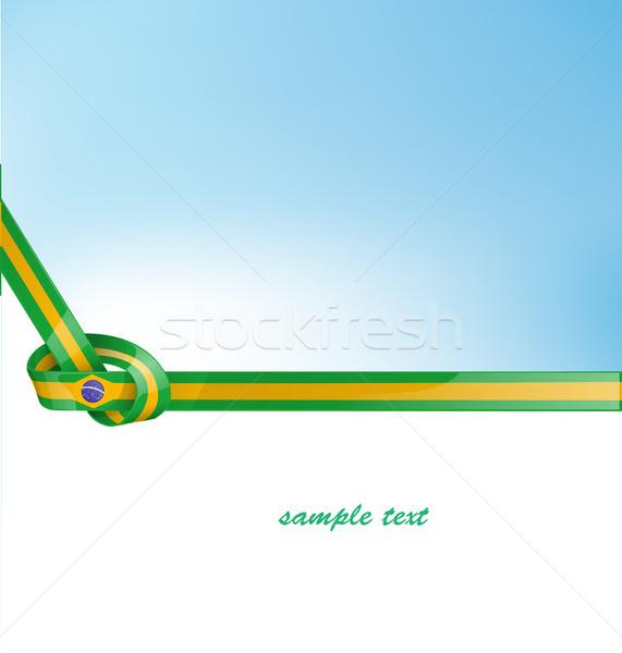 Brazilië lint vlag papier textuur voetbal Stockfoto © doomko