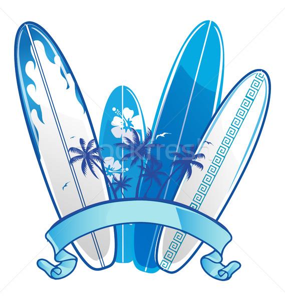 Szörfdeszka tenger nyár óceán felirat kék Stock fotó © doomko