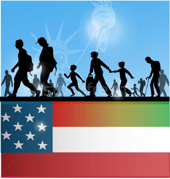 american people immigration background with flag  Stock photo © doomko