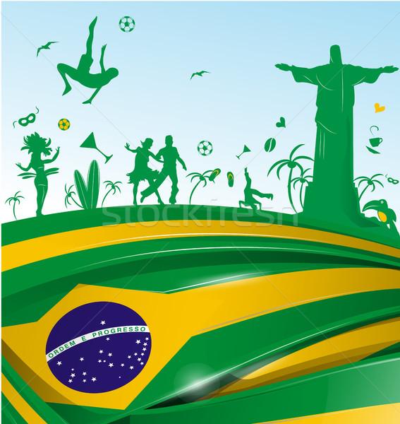 Brezilya bayrak simge ayarlamak parti futbol Stok fotoğraf © doomko