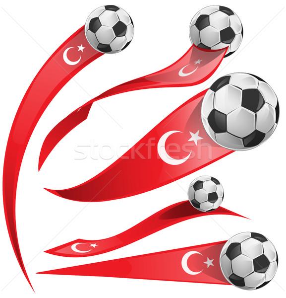 トルコ フラグ セット サッカーボール 孤立した 白 ストックフォト © doomko