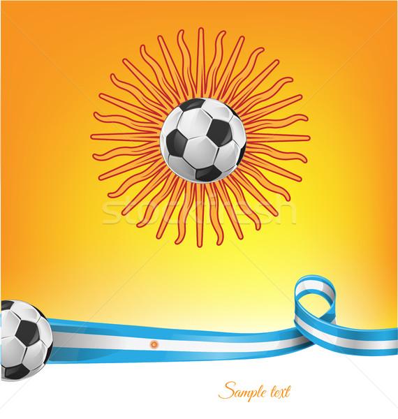 Argentína zászló futballabda textúra futball keret Stock fotó © doomko