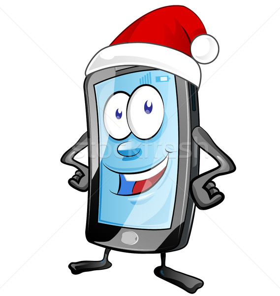 Leuk christmas mobiele cartoon geïsoleerd witte Stockfoto © doomko