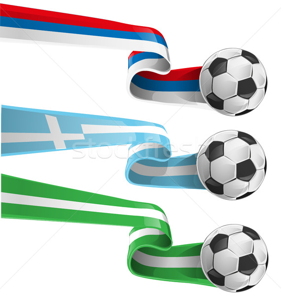 nigeria , greek and russian flag with soccer ball Stock photo © doomko