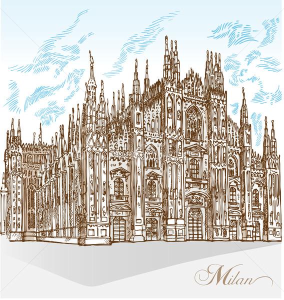 ミラノ 大聖堂 手 描画 建物 背景 ストックフォト © doomko