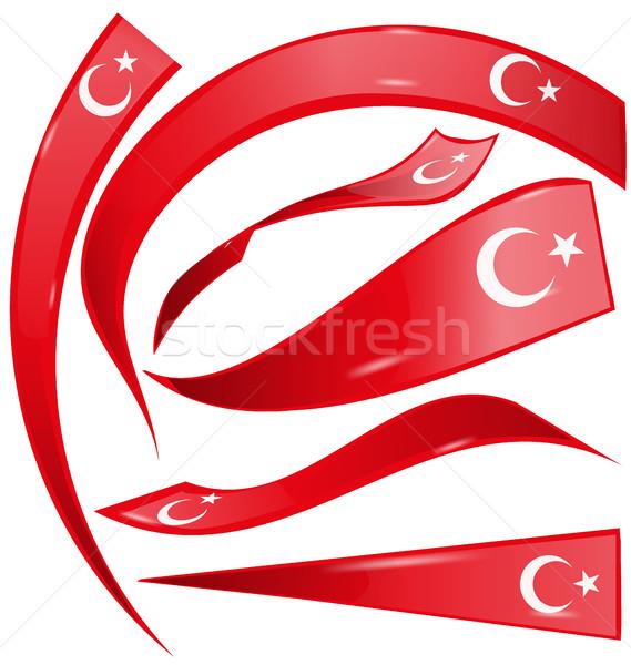 Turkije ingesteld vlag geïsoleerd witte ontwerp Stockfoto © doomko