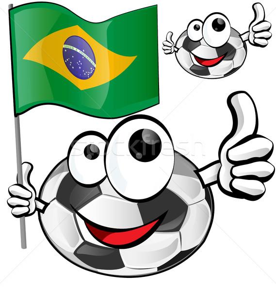 Voetbal cartoon vlag gezicht voetbal team Stockfoto © doomko