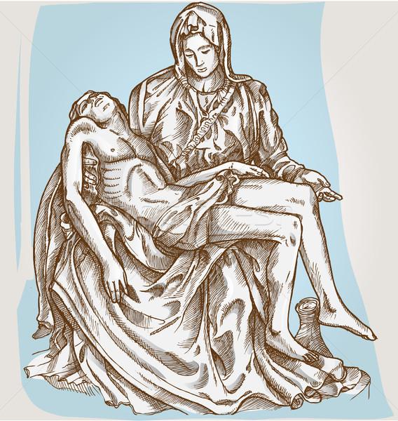 Posąg krzyż Jezusa rysunek religii katedry Zdjęcia stock © doomko