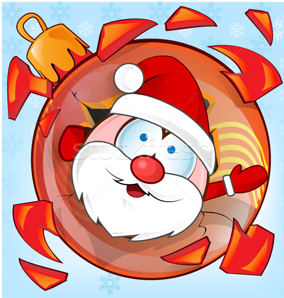 面白い サンタクロース クリスマス ボール 漫画 顔 ストックフォト © doomko