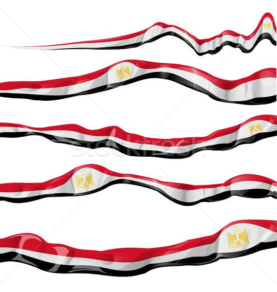 egypt flag collection horizontal on white background  Stock photo © doomko