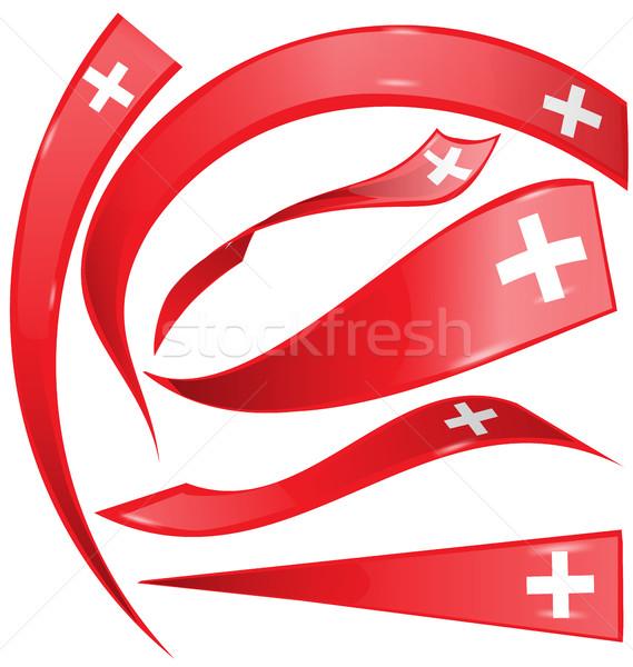 swiss flag set on white background Stock photo © doomko