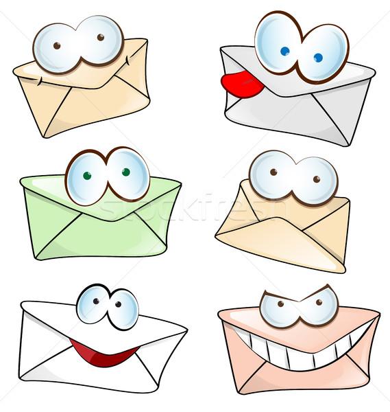 funny mail cartoon set isolated on white Stock photo © doomko