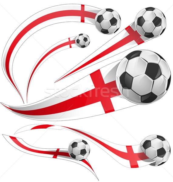 Anglii banderą zestaw piłka krzyż piłka nożna Zdjęcia stock © doomko
