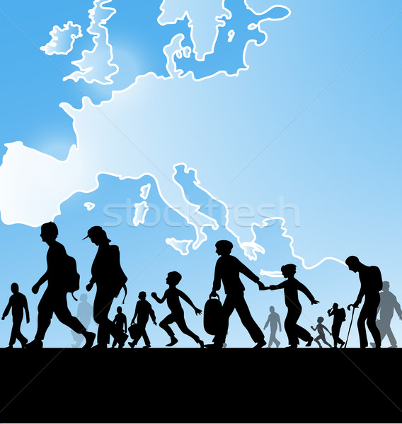 immigration people on europe map background Stock photo © doomko