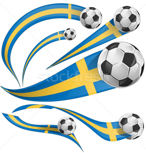sweden flag set with soccer ball